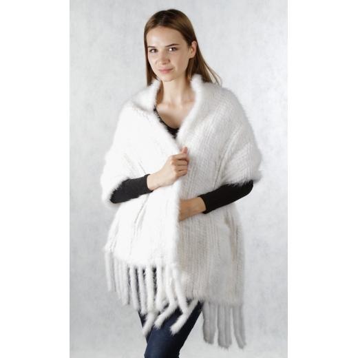 Палантин из вязаной норки белый