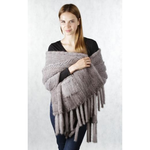 Палантин из вязаной норки светло-серый