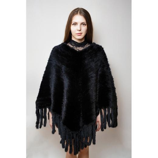 Пончо из вязаной норки черный