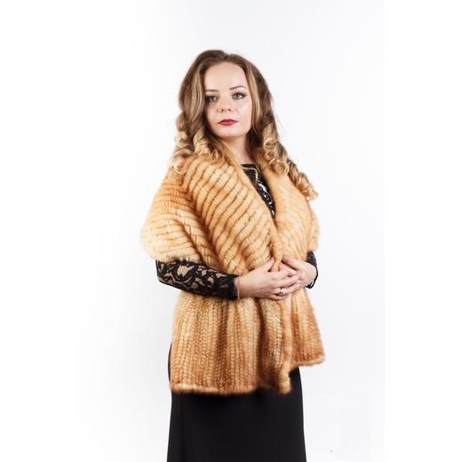 """Палантин """"Ёлочка"""" из вязаной норки огневка"""