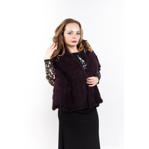 "Палантин ""Ёлочка"" из вязаной норки бордо"