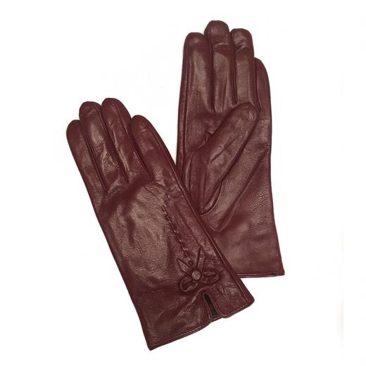 Перчатки кожаные Бордовые